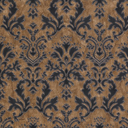 Textured Vinyl Damask Wallpaper Brown, Black and Silver P+S 02485-40 by P+S International