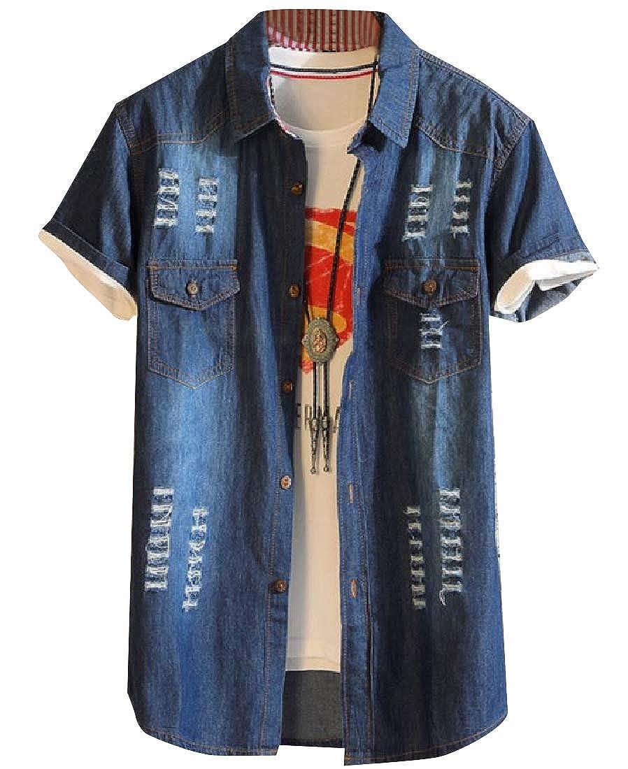 YUNY Mens Faded Original Fit Fold-Collar Cowboy Casual Shirts Dark Blue M