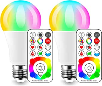 (2 Pack) - iLC LED Colour Changing Light Bulb with Remote Control RGBW - 120 Different Colour Choices - RGB Daylight and White Dimmable - Timing Function - E27 Cap Type for decoration parties & more (2 Packs)