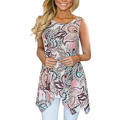 500ba97f5d3ea 🍒Jimmkey Women s Boho Top Casual Irregular Printed Sleeveless Asymmetrical  Loose Tunic Blouse Tops