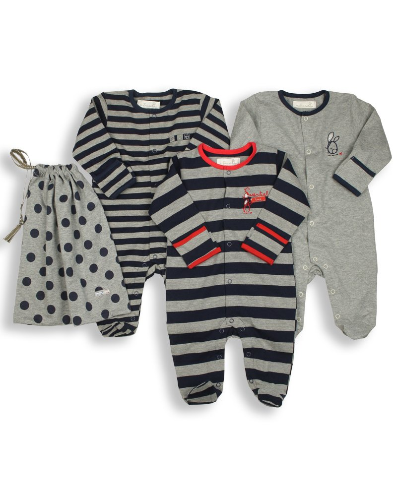 The Essential One - Pack of 3 Navy Blue Sleepsuits/Baby Grows - ESS15