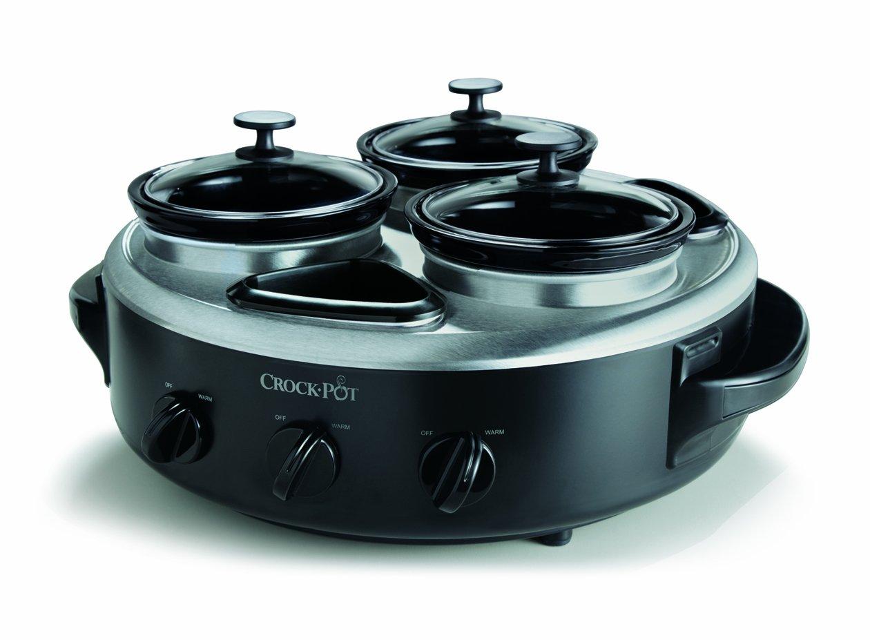 Crock-Pot SCRTD305-BS 1-Quart Triple Dipper Food Warmer with Portable Lid, Stainless Steel