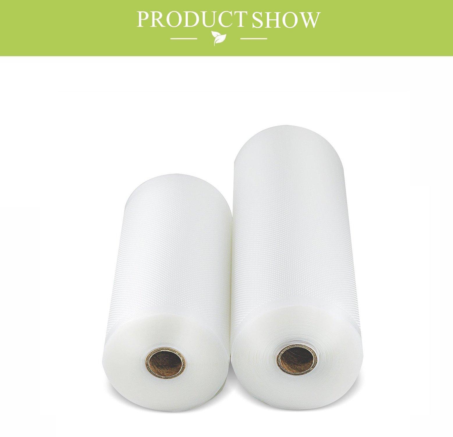 Bolsas de envasado al vacío, Padi Home Rollos de envasar al vacio, Pack de rollos de bolsas para envasadoras al vacío, 1 Roll 20x500 y 1 Roll 25x500cm, libre de BPA, Aprobado por la FDA