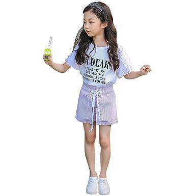 ACVIP Mädchen Sommer Bedruckte T-Shirt Kinder Baumwolle Kurzarm Tops Bekleidung