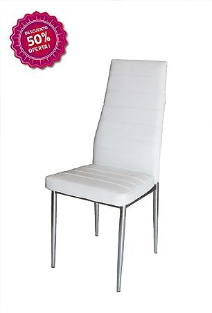 Silla de salón comedor blanco patas cromadas: Amazon.es: Hogar