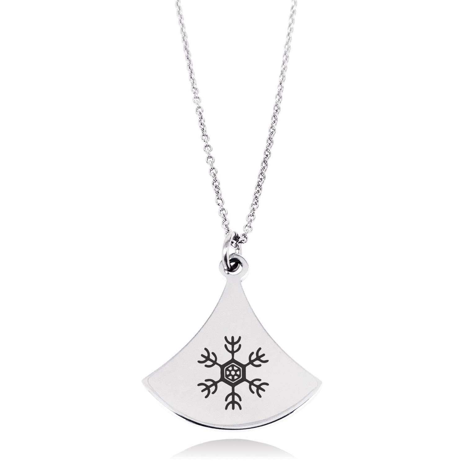 Stainless Steel Antlers Snowflake Pendulum Curved Triangle Charm Pendant Necklace