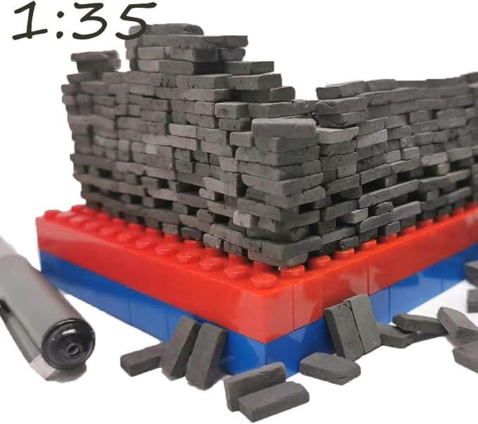 MagiDeal Dekorative 50x Mini Grey Bricks Modell 1//35 Layout Szene 1,1x0,6