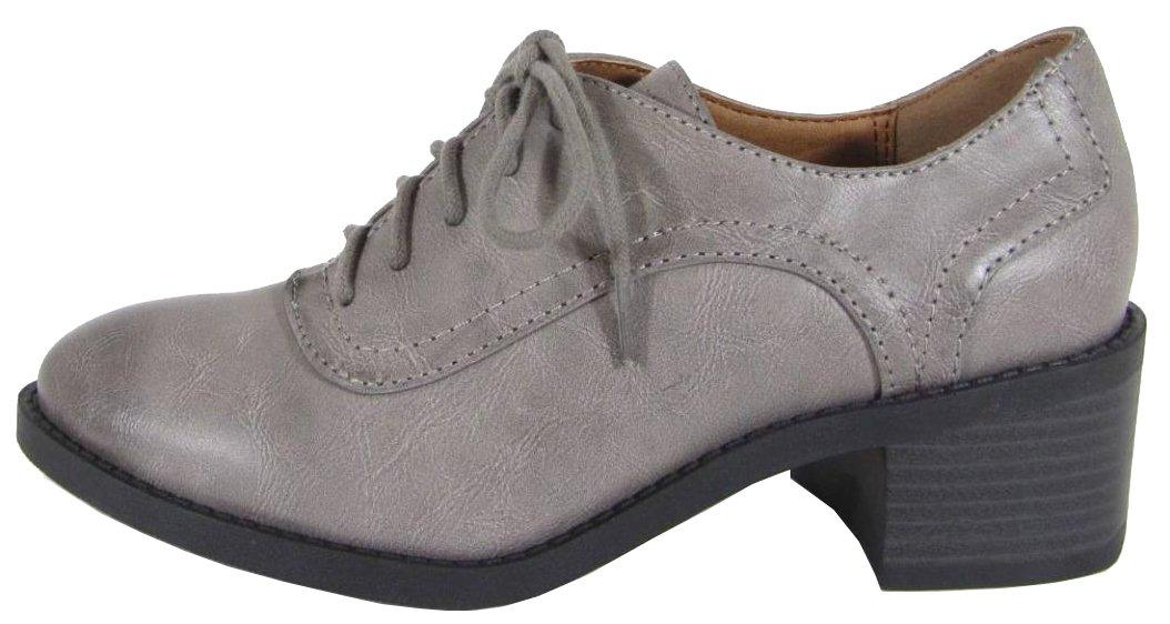 Soda Women's Lace-Up Chunky Stacked Block Heel Wingtip Oxford (9 B(M) US, Charcoal RUBPU)