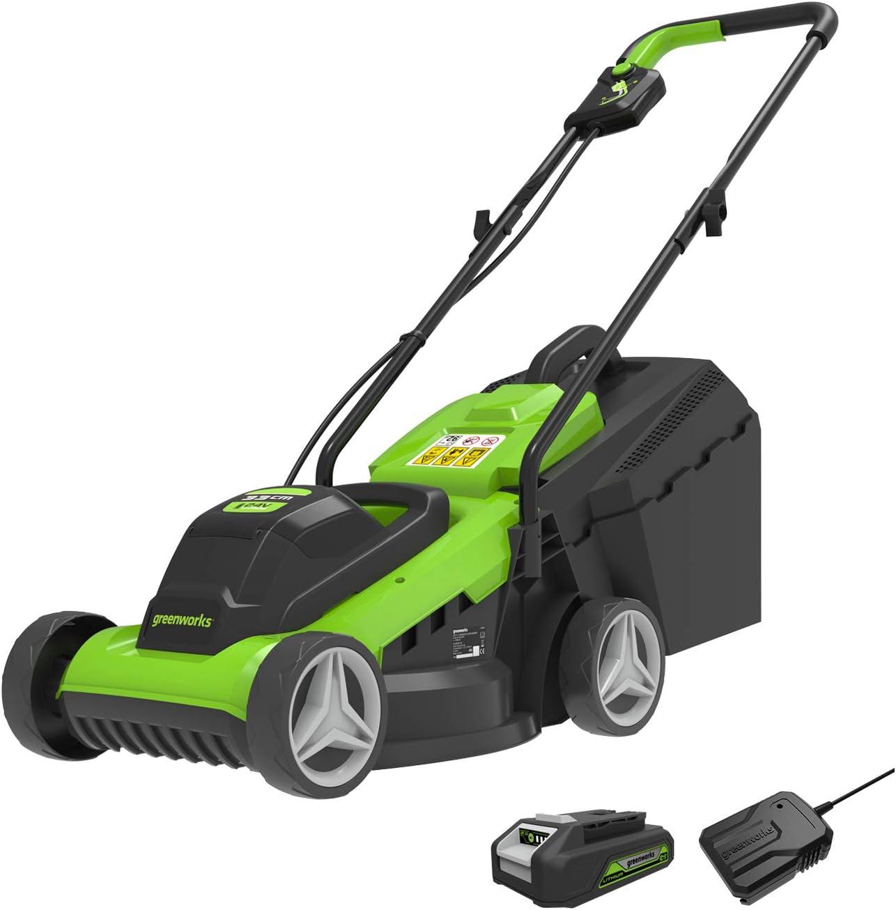 Greenworks 24 V 33 cm Cordless Lawnmower with 30 L Grass Catcher Bag