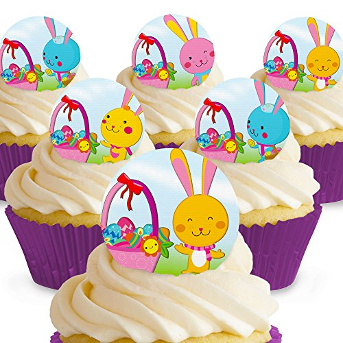 Cakeshop 12 x PRE-CUT Easter Bunny and Basket Edible Cake Toppers