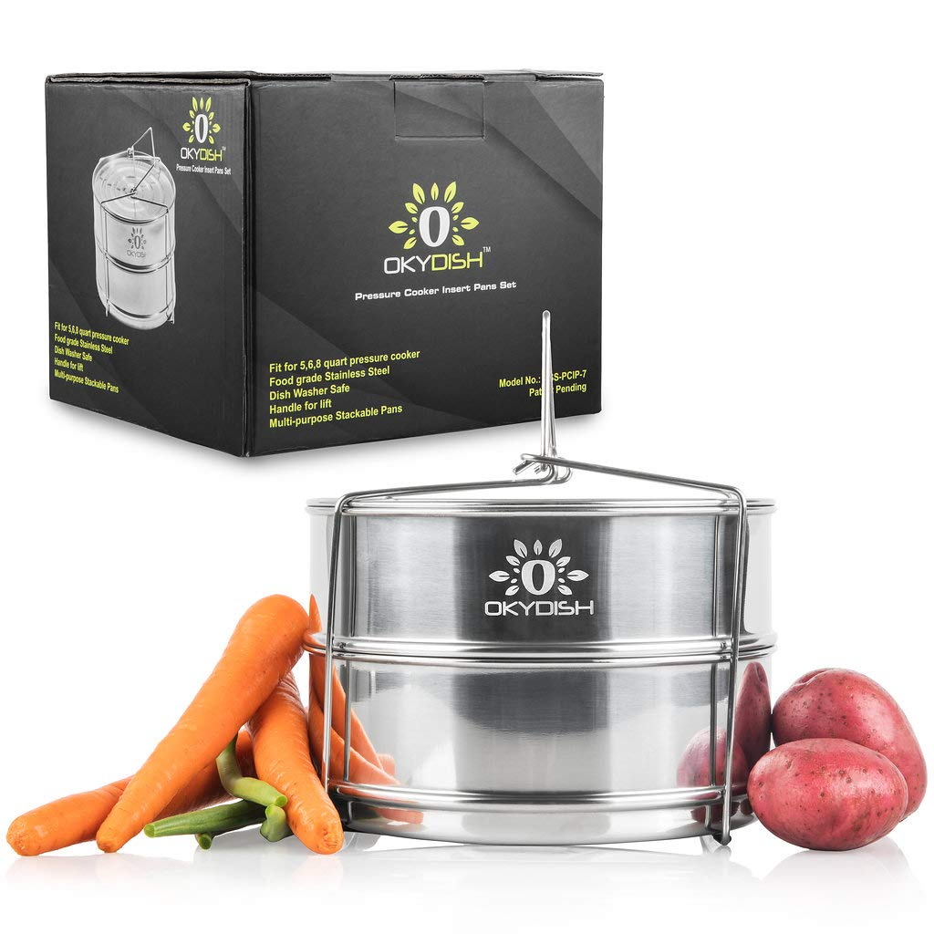 Stackable Steamer Insert Pans / Accessories for Pressure Cooker, Stainless Steel Food Grade Insert -Cooking Rice, duo, Fits for 6 qt 8 qt Pot in Pot