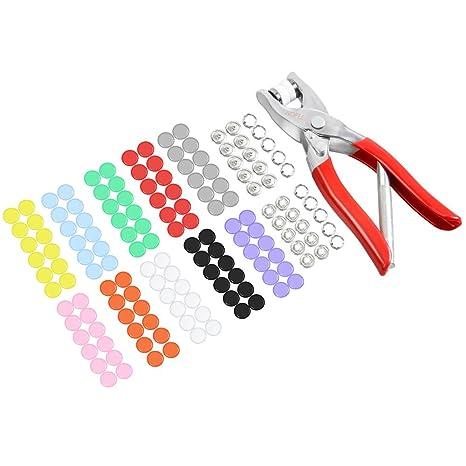 LOMATEE 150 botones a presión metálicos 10 colores + alicates para snaps broches de presión corchetes: Amazon.es: Hogar