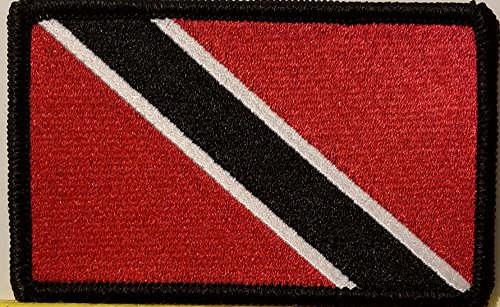 """[Single Count] Custom and Unique (3 1/2 """" x 2 1/4"""" Inches) Trinidad and Tobago National FLAG Rectangle Patriotic National Bordered Flag Badge Iron-On Embroidered Applique Patch BLACK BORDER"""