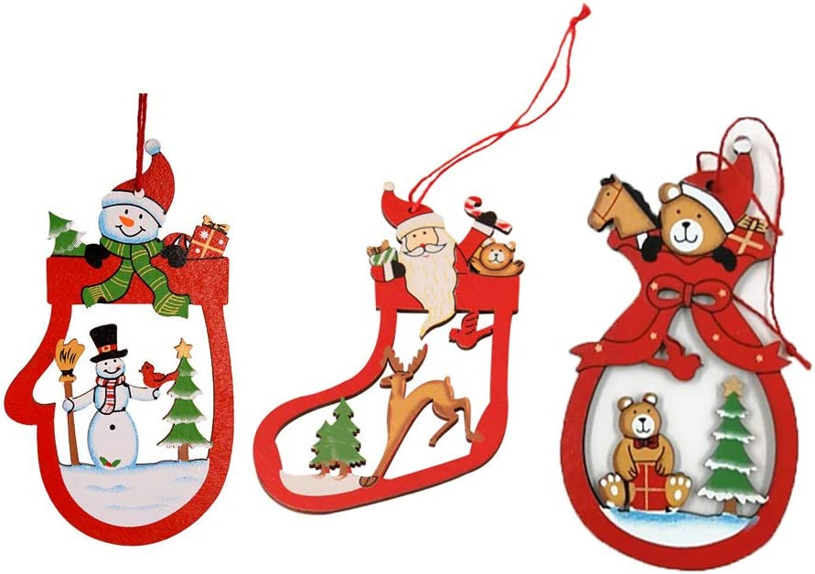 ANLEMIN Red Christmas Wooden Ornaments Wooden Santa Claus Hanging Decorations Xmas Tree Ornament for Home Wall Bottle -3pcs