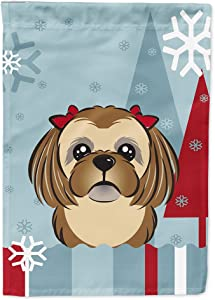 Caroline's Treasures BB1745GF Winter Holiday Chocolate Brown Shih Tzu Flag Garden Size, Small, Multicolor