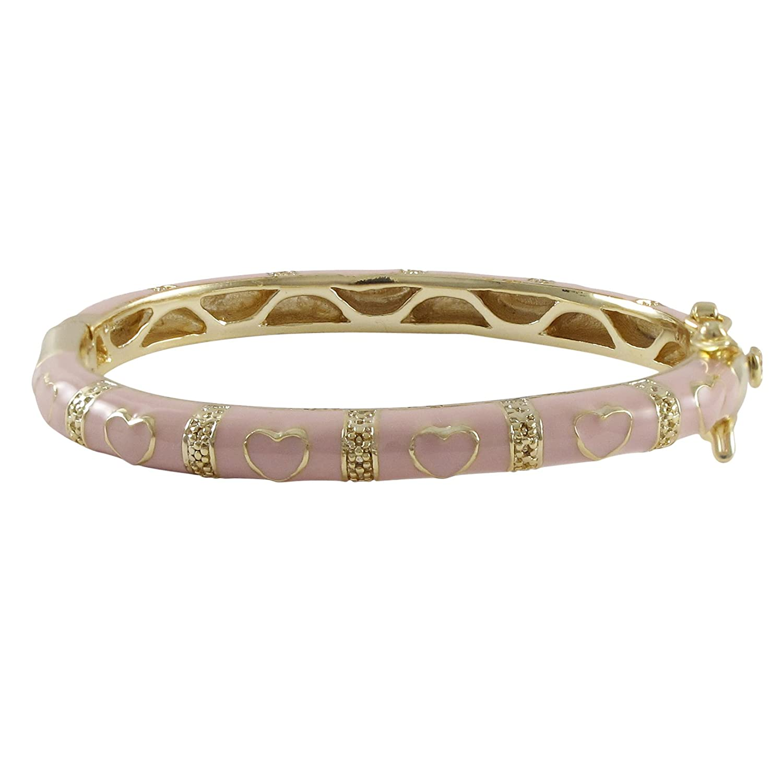 Ivy and Max Gold Finish Pink Enamel Hearts Girls Bangle Bracelet