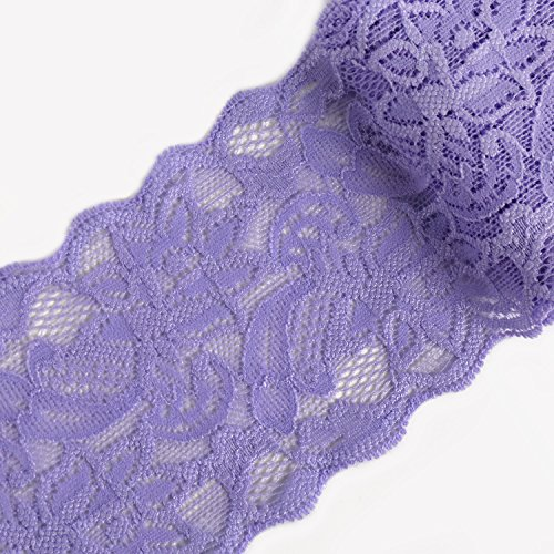 Solid Lace Trim - Laribbons 3 inch Floral Elastic Lace Trim, Solid Lace Fabric for Craft - 10 Yard (Lavender)