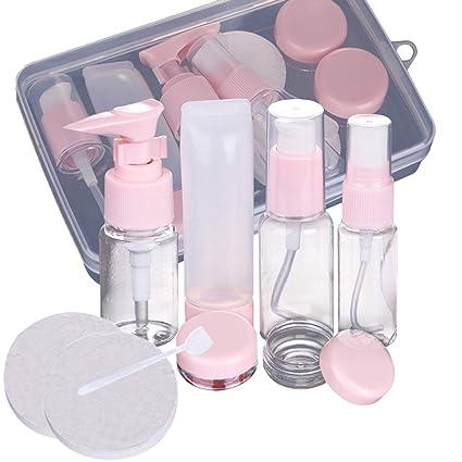Set de Viaje para Avión,Beautyshow Conjunto de Botellas de Viaje Plastico Transparente Contenedor Líquidos