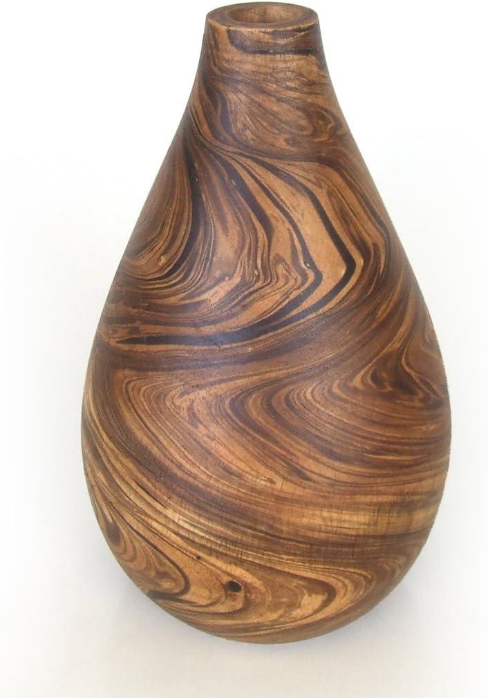 23/cm Brown a forma di bottiglia scolpito in legno di ormosia Vaso asiatico orientale da tavolo o pavimento
