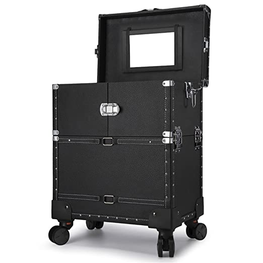 Amazon.com: 3-tier Leather Makeup Trolley Train Luggage Cosmetic Cases 4-Wheel Rolling Artist Beauty Travel Organizer Box with Lift Handle and Mirror: ...