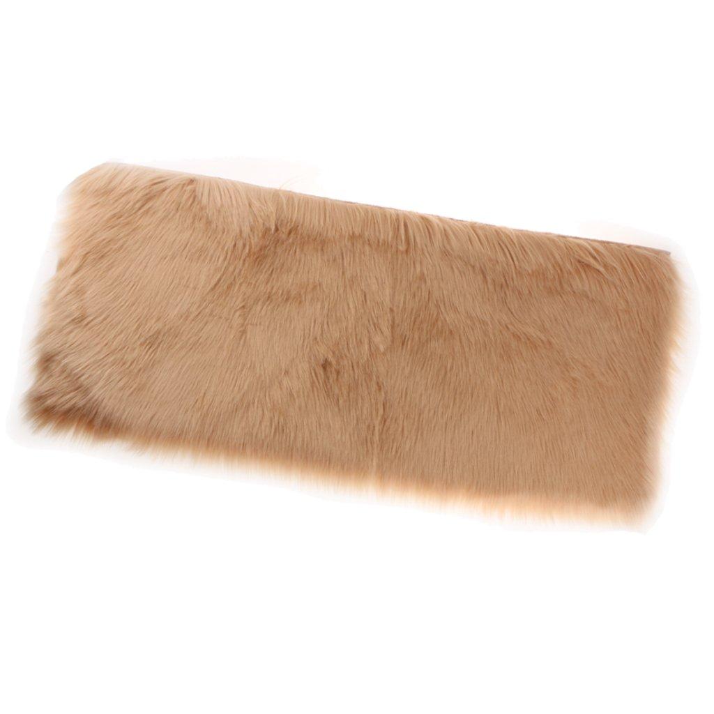 MonkeyJack Artificial Sheepskin Rug Furry Home Car Seat Cushion Fluffy Float Window Mat - Brown