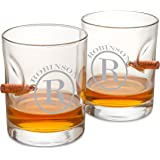 Personalized Bulletproof Lowball Whiskey Glass - Set of 2 - circle monogram