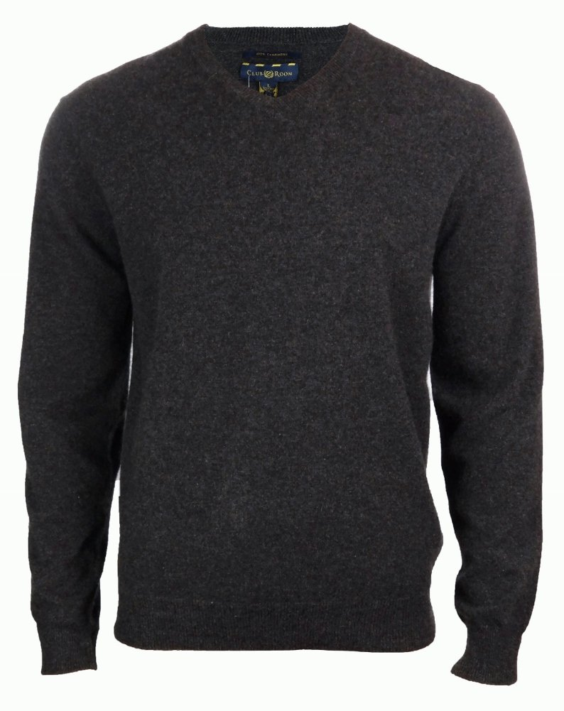 Men's 100% Cashmere Solid V-Neck Sweater (M, Heather Dark Charcoal) by Club Room (Image #1)