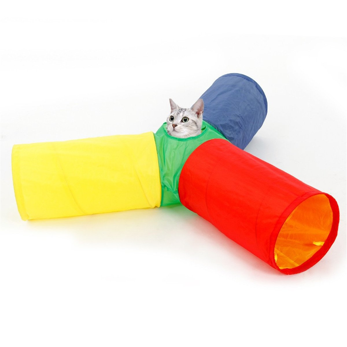 3 Way Pet Cat Tunnel Rainbow Color Pawz Road Crinkle Kitten Play Toys Collapsible With Peek Hole Interactive Tube Tunnel For Small Medium and Large Cats Speedy Pet