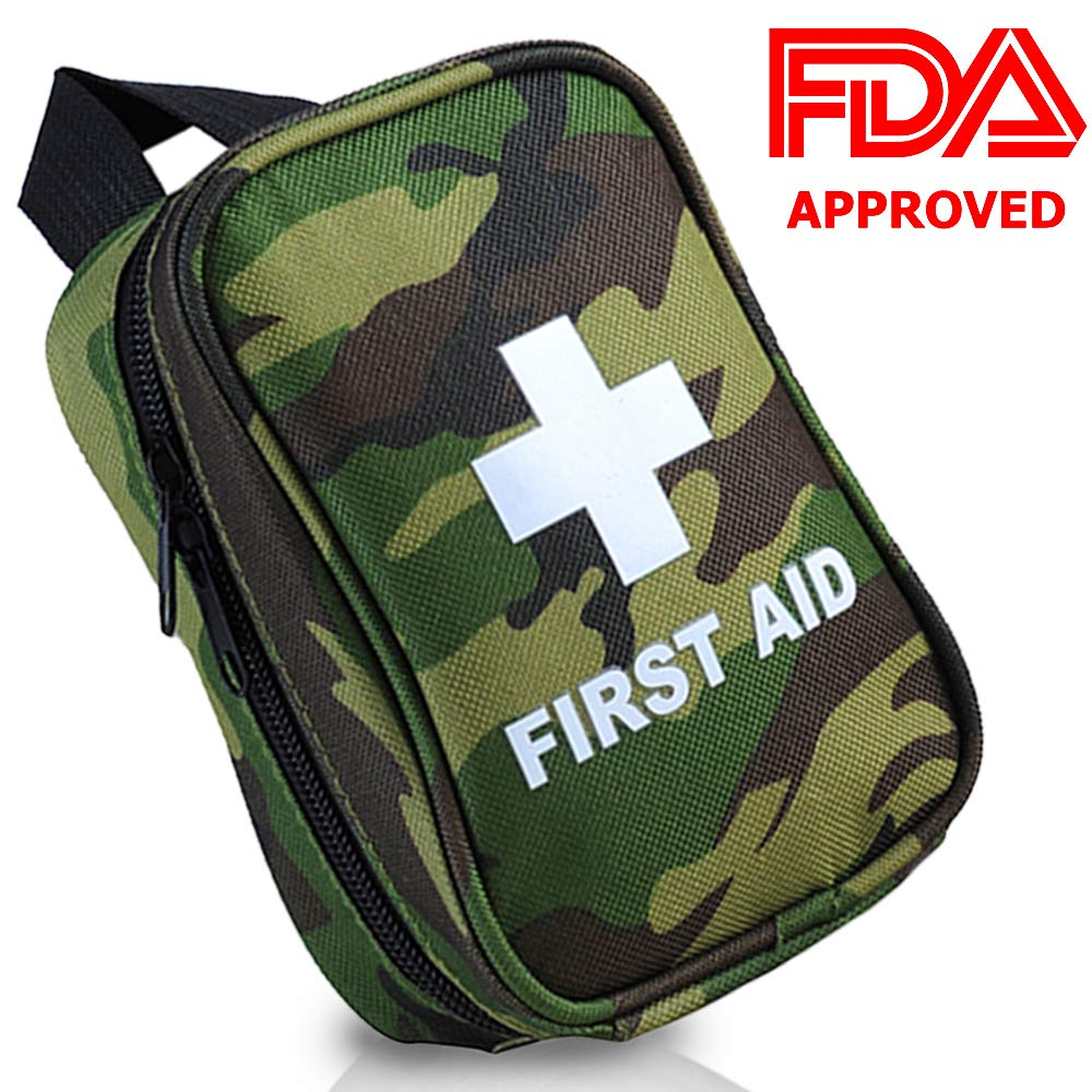 RISEN First Aid Kit NO Hands Carry Hang on Waist FDA OSHA Small Great Compact First Aid Kit in Emergency for Outdoor Survival Camping Hiking Backpack Biking Travel Sports Car Home Workplace Hunting