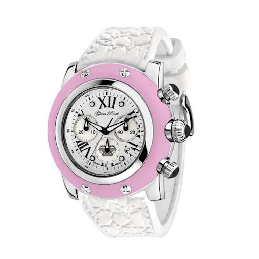 Glam Rock Women's GR30108RW Summer Collection Chronograph Pink Silicone Watch