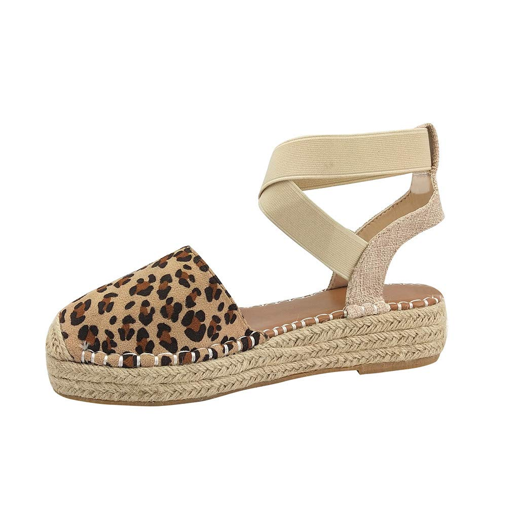 DondPo Womens Summer Espadrille Heel Platform Wedge Sandals Ankle Buckle Strap Closed Toe Shoes Thick Bottom Weaving Bottom Brown by DondPo
