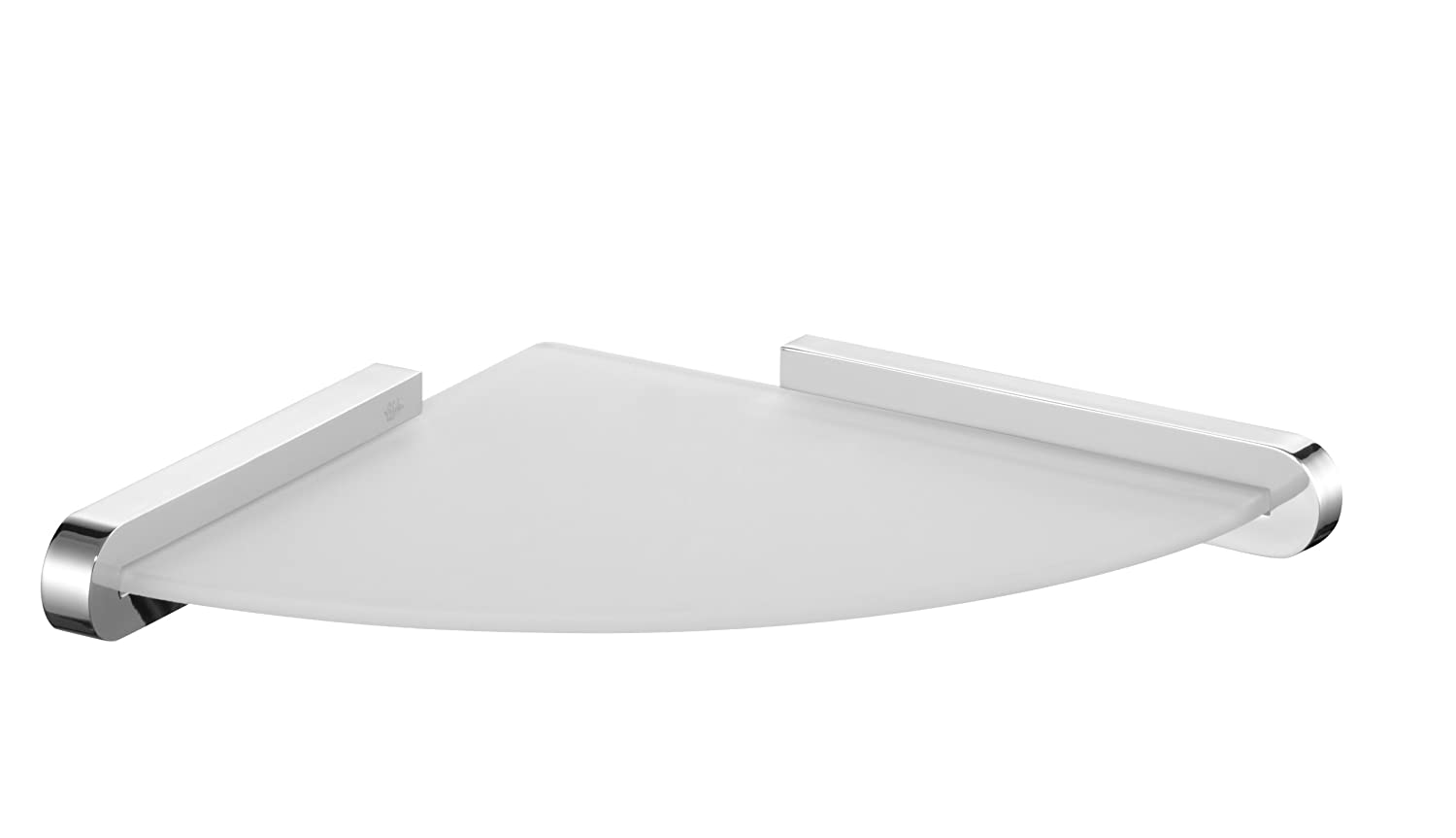 Bisk 02984 Frosted Corner Glass Shelf in Finished Holder, 24 x 24 x 3.4 cm, Silver 2984_chrom