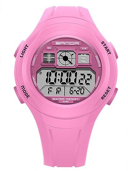 Sanda Kids Sport Silicone Reloj Despertador Digital Impermeable para niños niñas.: Amazon.es: Relojes