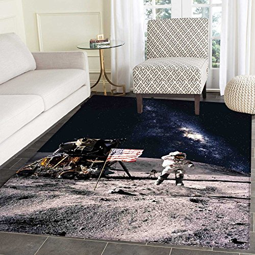 Galaxy small rug Carpet Astronaut on Rocky Surface of Moon A