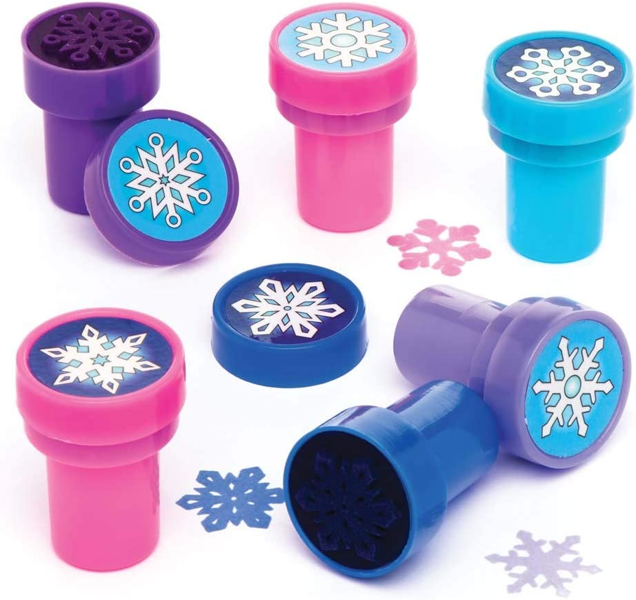 For Kids Christmas Arts And Crafts Baker Ross Snowflake Self-Inking Stampers Pack Of 10