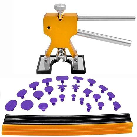 GLISTON Dent Puller Tools, 31pcs Paintless Dent Repair Tools Kit Paintless  Dent Removal Golden Dent Lifter + paintless Glue Sticks + Glue Tabs Auto