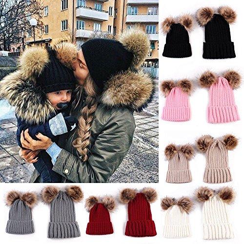 hatop-baby-hat-2pcs-mom-mother-baby-knit-pom-bobble-cap-winter-warm-beanie-hat-gray