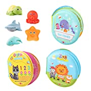 M AOMEIQI Baby Bath Toys 3 Pack Nontoxic Soft Floating Sound Books Kids Early Educational Infant Learning Books Toys Waterproof Bathtime Bathtub Book with 5 Ocean Squirt Toys for Babies Toddlers