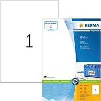 Herma 4428 Universal Etiketten (Format DIN A4 210 x 297 mm) weiß, 100 Klebeetiketten, 100 Blatt Premium Papier matt, bedruckbar, selbstklebend