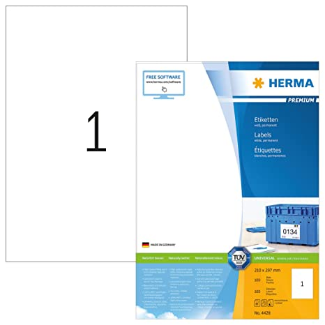 Amazon.com: HERMA 4428 etiquetas papel blanco A4 210 x 297 ...