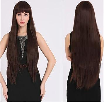 Meylee Pelucas Se ve muy Natural largo pelo recto Remy pelucas con flequillo prolijo + una