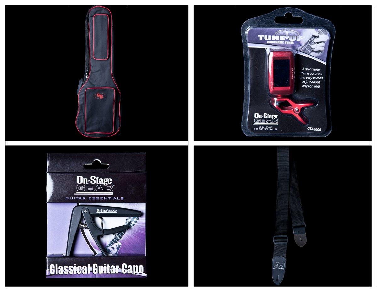 Acoustic Guitar Accessory Bundle Gig Bag, Clip Tuner, Capo, Black Strap