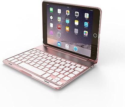 IPad Mini 4 Teclado Funda,niceEshop(TM) Teclado Inalámbrico Bluetooth Retroiluminado con 7-Color Aleación de Aluminio Funda Protector,Oro Rosa