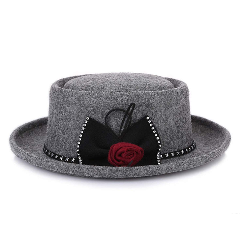 Women Wide Brim Fedora Hat Wool Boater Flat Top Hat Ladies Pork Pie Bowler Gambler Top Hat
