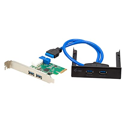 I-Tec USB 3.0 Juego de adaptadores (el Tablero Frontal PCI-E Express Card 4X Puertos USB 3.0 + Puerto concentrador USB 3.0 HUB 2 para el Tablero ...
