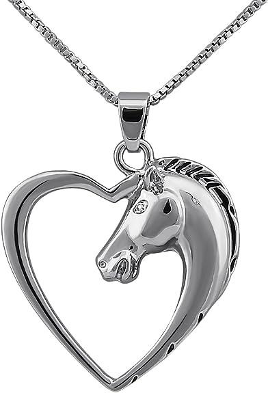 Veuer - Colgante de plata con una cabeza de caballo y un