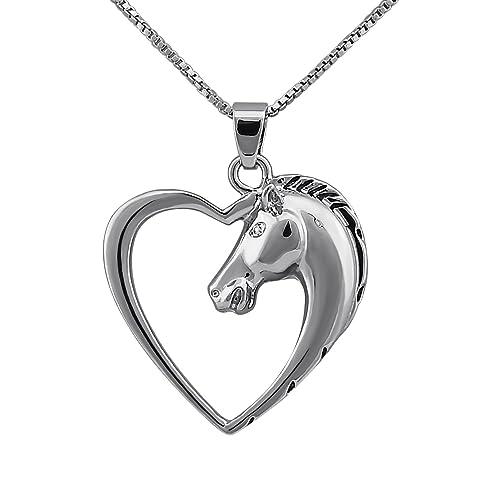 fcd81ef56b5d Hanessa - Colgante de plata con una cabeza de caballo y un corazón ...