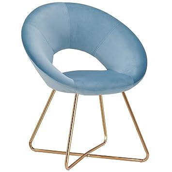 Duhome Silla de Comedor de Tela (Terciopelo) Azul Claro diseño Retro Silla tapizada Vintage sillón con Patas de Metallo seleccion de Color 439D