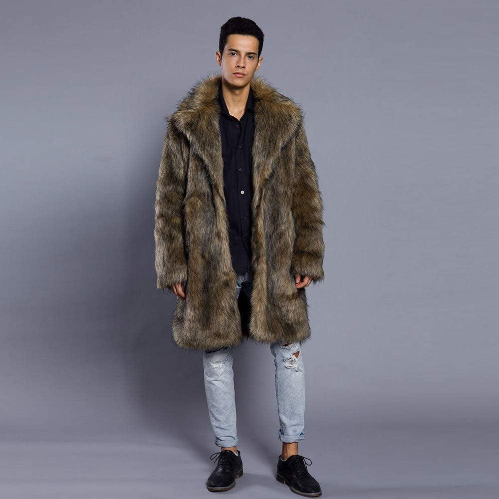 Sunyastor Mens Leopard Faux Fur Coat,Popular Keep Warm Thick Fur Collar Jacket Winter Parka Outwear Cardigan