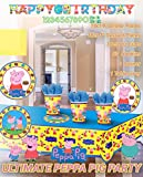 Ultimate Peppa Pig Party!!!Birthday Party Decoration Supplies Bundle Pack with 16lg&16sm Plates 16-9oz Cups, Matching Table Cover&Jumbo Banner,50 Napkins(Bonus Matching Party Straw Pack)